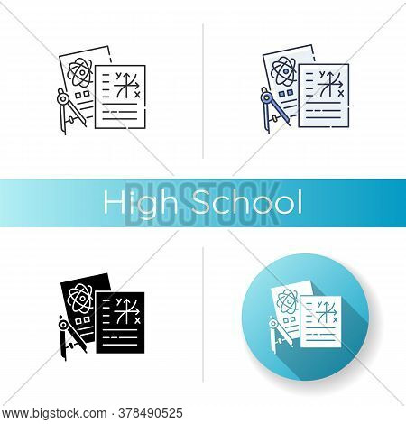 High School Icon. Linear Black And Rgb Color Styles. Secondary Education, Academic Subjects, Science