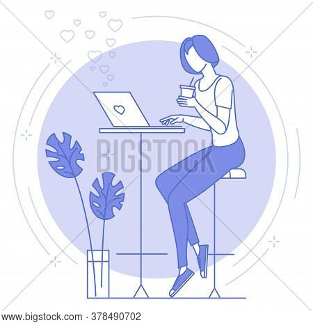 Thin Line Blue Icon Of Remote Work And Freelance. Young Women Are Working Remotely In Coffeeshop. Fl