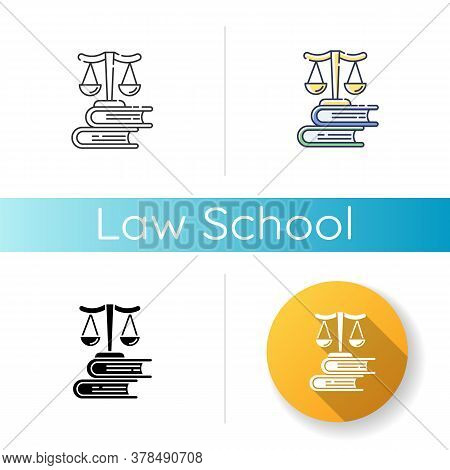 Law School Icon. Linear Black And Rgb Color Styles. Professional Jurisprudence Education, Judicial S