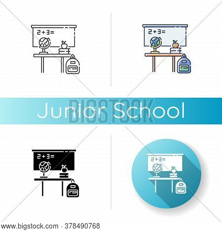 Junior School Icon. Linear Black And Rgb Color Styles. Primary Education Establishment, Studying Bas