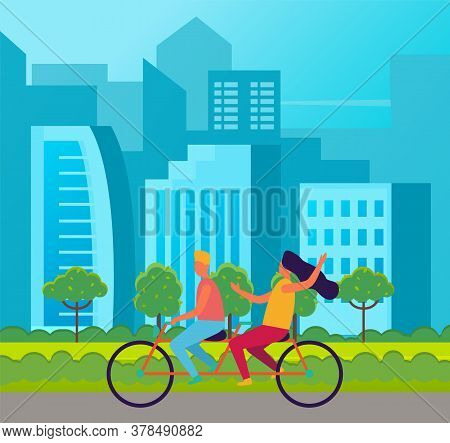 Tandem Bicycle Riders Cartoon Characters. Girl And Guy Riding On Double Bike On The Road At Cityscap