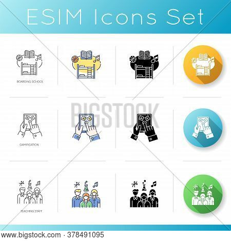 Education Icons Set. Linear, Black And Rgb Color Styles. Boarding School, Teaching Staff And Studyin