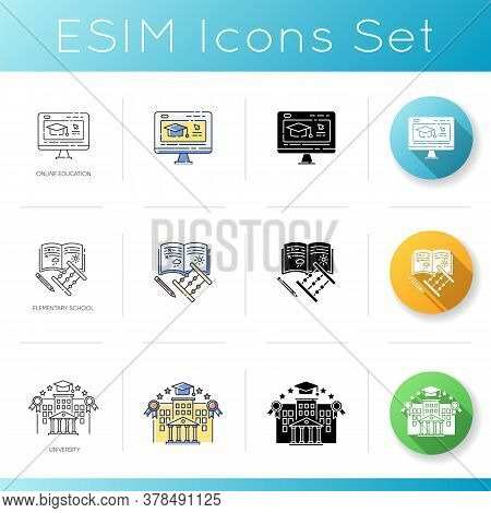 Education System Icons Set. Linear, Black And Rgb Color Styles. University Campus, Internet Courses