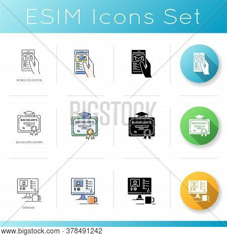Academic Education Icons Set. Linear, Black And Rgb Color Styles. Public And Private School Services
