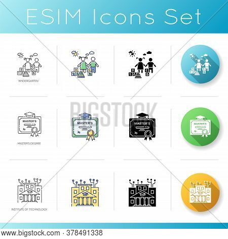 Modern Learning Opportunities Icons Set. Linear, Black And Rgb Color Styles. Kindergarten Education,