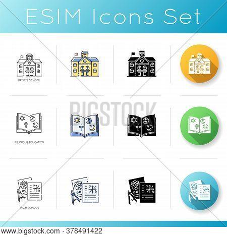 Public School Education Icons Set. Linear, Black And Rgb Color Styles. Prestigious Private School Ca