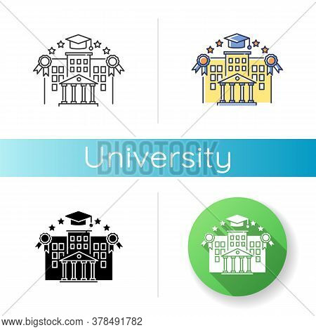 University Icon. Linear Black And Rgb Color Styles. Higher Education, Student Lifestyle. Academic In