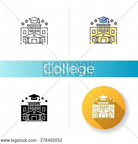 College Icon. Linear Black And Rgb Color Styles. Higher Education. Academic Institution, Prestigious