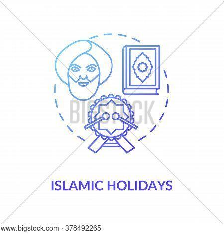 Islamic Holidays Concept Icon. Religious Celebrations In India, Islam Idea Thin Line Illustration. P