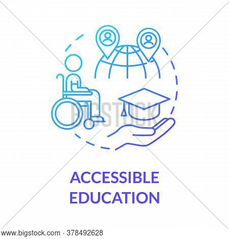 Accessible Education Concept Icon. Elearning Accessibility. Digital Lessons. Barrier Free. Distance