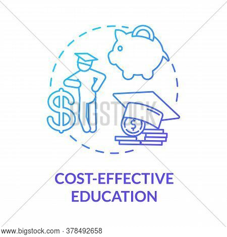 Cost Effective Education Concept Icon. Academic Payment. Educational Expenses. University Enrollment