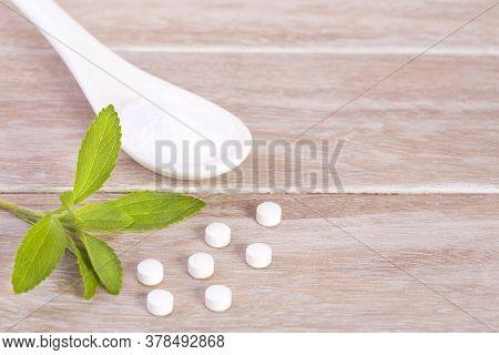 Sweetener Made Of Stevia In The Bottom Of Wood - Stevia Rebaudiana