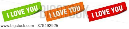 I Love You Sticker. I Love You Square Isolated Sign. I Love You Label
