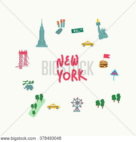 Set Of Attractions In New York Usa. The Set Includes The Famous Statue Of Liberty With A Torch, The