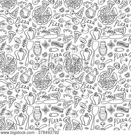 Pizza With Ingredients And Supplies Hand Drawn Seamless Pattern. Food Doodles Isolated On White Back