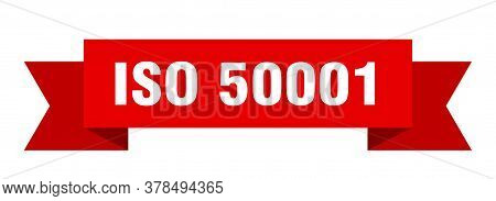 Iso 50001 Ribbon. Iso 50001 Isolated Band Sign. Iso 50001 Banner