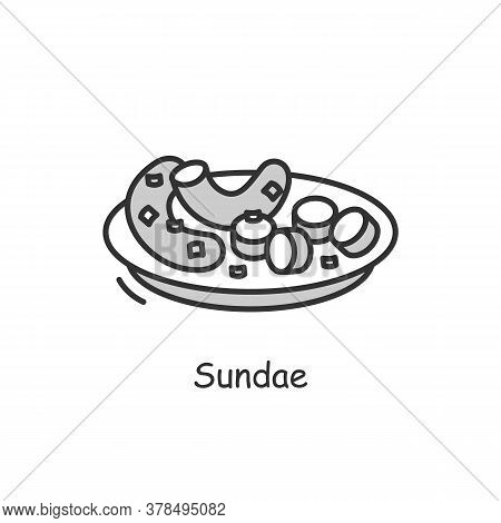Sundae Icon. Traditional Korean Street Food Outline Sign On White. Asian Dish Of Blood Sausages, Sau