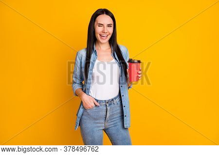 Portrait Of Her She Nice Attractive Lovely Pretty Glad Cheerful Cheery Girl Drinking Hot Cacao Latte