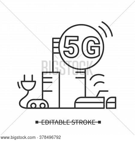 5g Wireless Icon. Line Pictogram Of Cityscape With Wireless Data Transmissions. Smart City And Moder