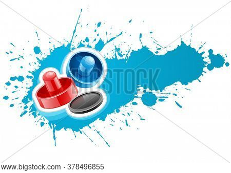 Aiir hockey mallets and puck for playing game over paint splash with blot drops. Isolated on white background. Illustration.