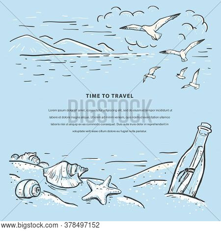Marine Romantic Sketch Vector Template. Sketch With Beach, Seagulls, Seashells, Sea Star And Message