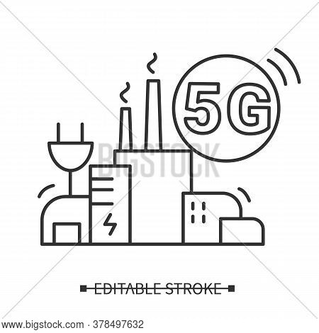 5g Power Transfer Icon. Smart City Wireless Power Charging Concept. Industrial Plant Reliable Teleco