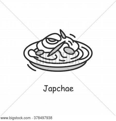 Japchae Icon.traditional Korean Stir Fried Noodles Bowl Outline Sign.asian Food With Sweet Potato, V