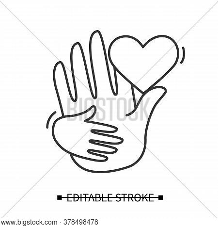 Adoption Icon. Baby Hand Holding Parent With Linear Heart Pictogram. Parent Love, Care And Child Ado