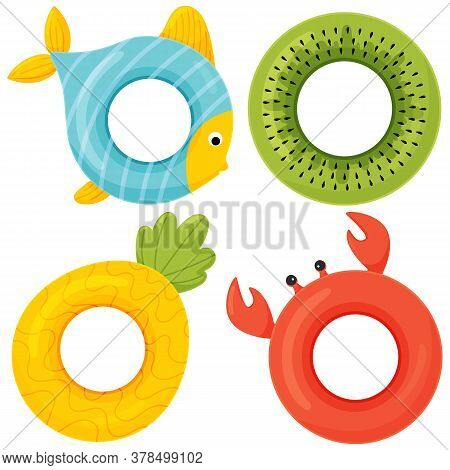 Set Of Colorful Rubber Swimming Rings. Vector Flat Style Cartoon Icon Of Swimming Ring Illustration