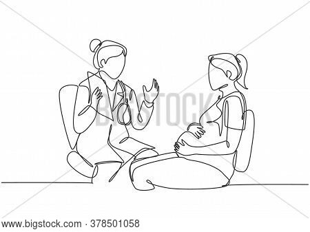One Single Line Drawing Of Female Obstetrics And Gynecology Doctor Giving Consultation Session To Th
