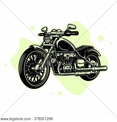 Old Motorcycle On A Dark Background. Retro Motorcycle. Club Customizing Motorcycles