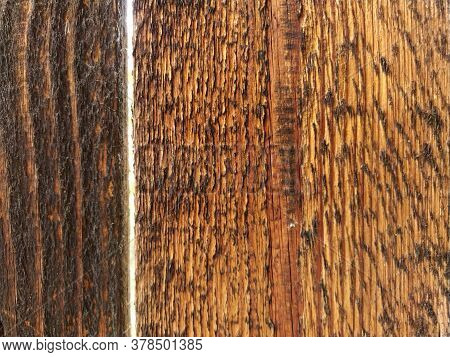 Wood Board Background. Wooden Brown Texture Is From Lying Vertical Boards. Close-up Teak Wood Textur