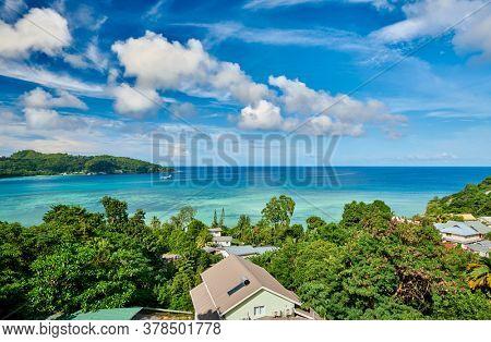 Overlook of Seychelles bay at Mahe island