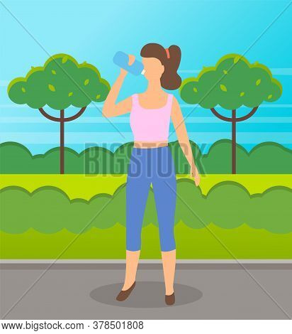 Young Woman Wearing Sportswear Drinking Water From A Plastic Bottle Outdoor Healthy Lifestyle Vector