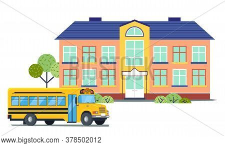 School Building With Yellow School Bus. Isolated Icons In Flat Style. Back To School Concept. Empty