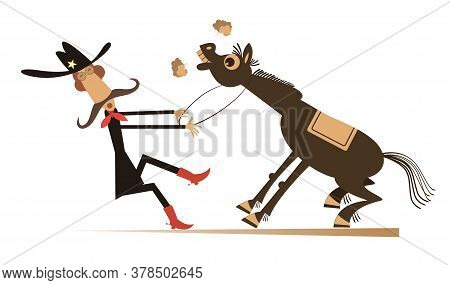 Cartoon Rodeo Illustration. Man Or Cowboy In The Stetson Hat With Long Mustache Is Trying To Hold Th