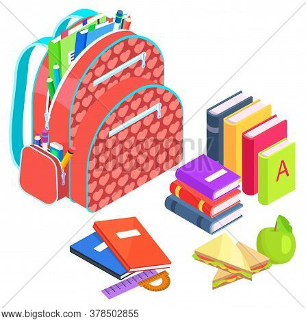Schoolbag With Books Vector, Back To School Concept. Preparation For Lessons And Studies, Packed Bag