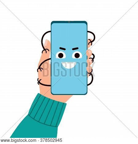 Smartphone Addiction. Hand Holds Phone, Which Is Clutching Hand. Bad Lifestyle Concept. Vector Flat