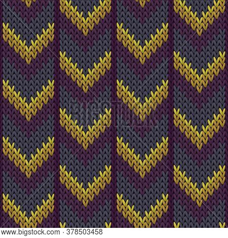 Woven Downward Arrow Lines Knit Texture Geometric Vector Seamless. Ugly Sweater Knit Tricot  Fabric