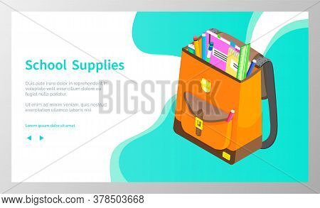 School Supplies, Back To School Concept. Satchel With Books And Pencil Prepared For Classes And Less