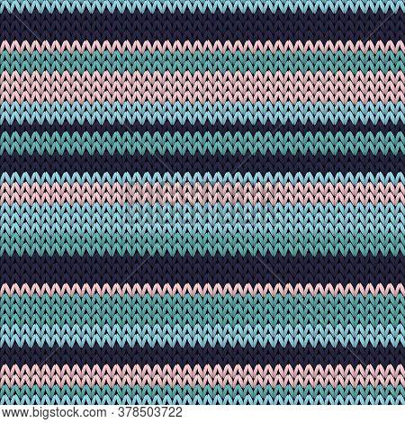 Fairisle Horizontal Stripes Christmas Knit Geometric Vector Seamless. Pullover Knitting Pattern Imit