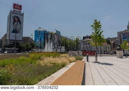 Belgrade, Serbia - June 30, 2019: Slavija Square At Sunny Summer Day In Belgrade, Serbia.