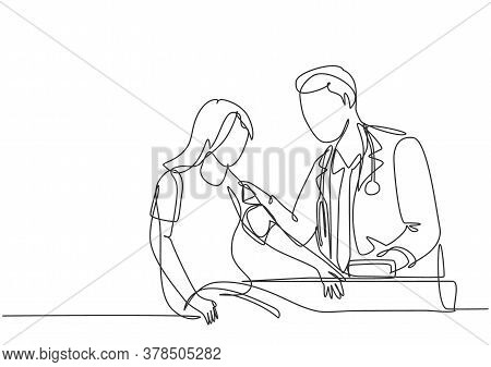 Single Continuous Line Drawing Of Young Male Doctor Examining Young Woman Patient Pulse Rate And Blo