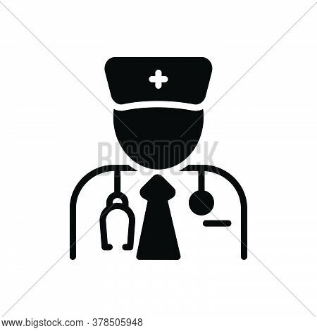 Black Solid Icon For Specialist Expert Connoisseur Advisor Stethoscope Doctor Medical