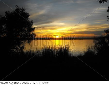 Sunset Over The Chobe River In Kasane In Botswana While Staying At The Chobe Safari Lodge Next To Th