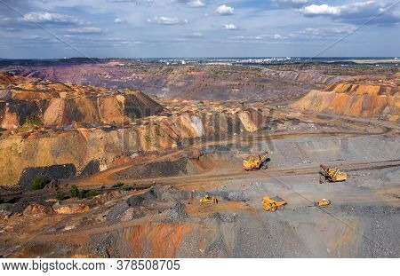Large Quarry Mining Of Iron Ore Aerial View
