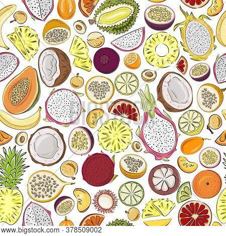 Seamless Pattern With Fruit - Papaya, Lemon, Orange, Tangerine, Mango, Mangosteen, Rambutan, Coconut