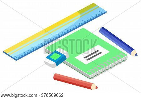 Notebook With Green Cover, Color Pencils, Plastic Ruler And Eraser Or Rubber Isolated On White. Back