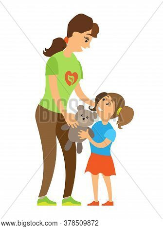 Volunteering Woman Caring To Orphan Girl, Assistance Giving Toy To Child, Full Length And Portrait V