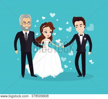 Wedding Vector, Father Standing With His Daughter, Bride Wearing Dress And Groom In Formal Suit, Peo